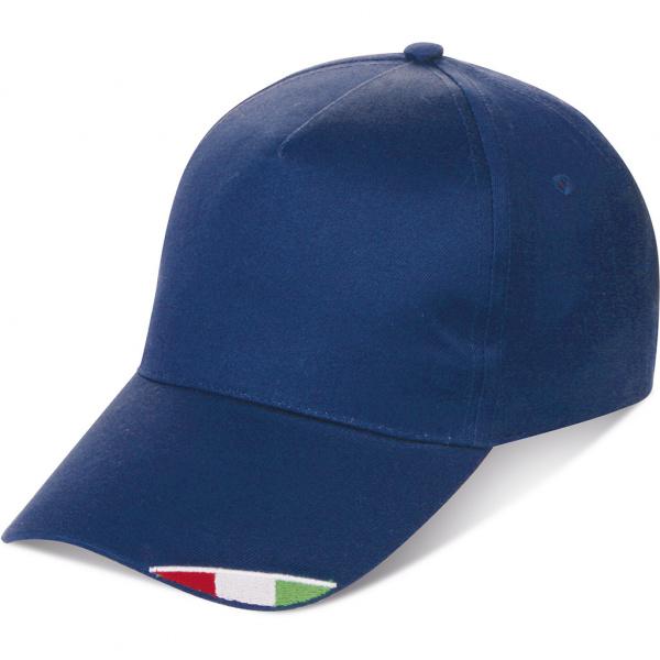 Cappellino con tricolore ricamato