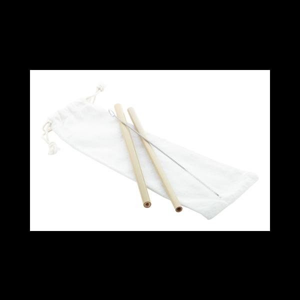 Set di due cannucce in bambù stampate con logo