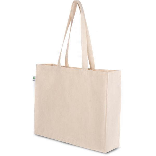 Shopper con soffietto in cotone organico