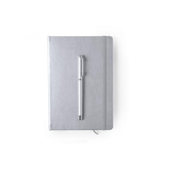 Elegante Set con Blocco Appunti e Penna in Alluminio